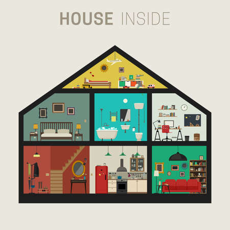 home furniture: House inside interior. Vector flat house with set of basic rooms. House in cut with furniture.