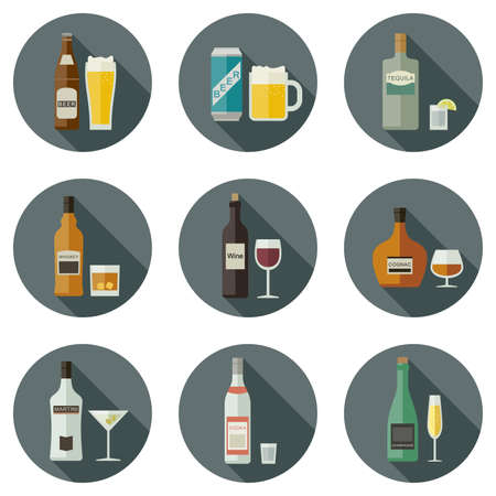 spirits: Bottles of alcoholic beverages with mugs and glasses. Drinks and beverages icons. Illustration