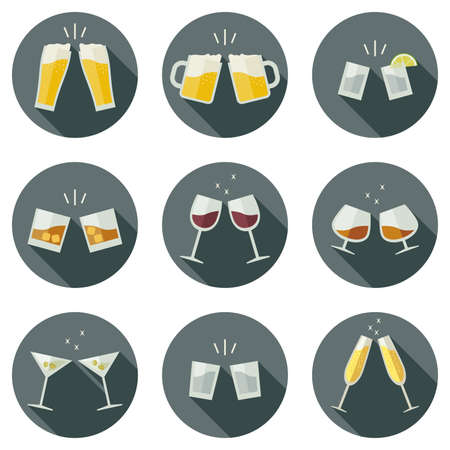 clinking: Clinking glasses vector icons. Glasses with alcoholic beverages in flat style. Illustration