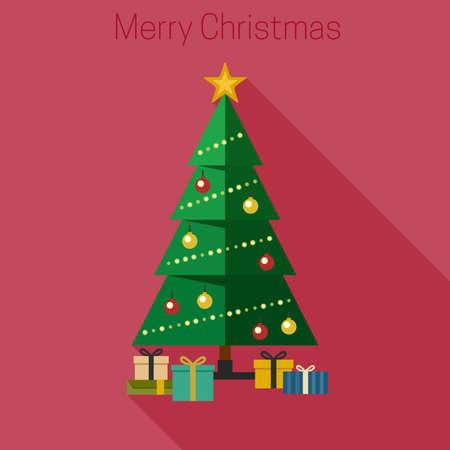 estrella caricatura: �rbol de Navidad con regalos en estilo plano.