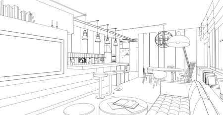 indoors: Line interior vector drawing on white background. Architectural design.