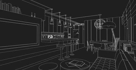 Line interieur vector tekening op zwarte achtergrond. Architectueel ontwerp. Vector Illustratie