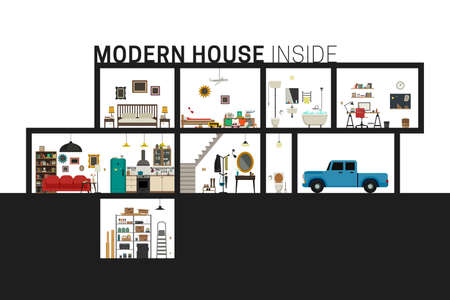 cutaway drawing: House inside interior. Vector flat house with set of basic rooms. Modern building in cut with furniture.