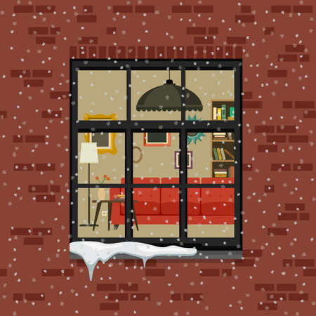 living room wall: Winter window in brick wall. View of the living room through the window. Vector flat illustration.