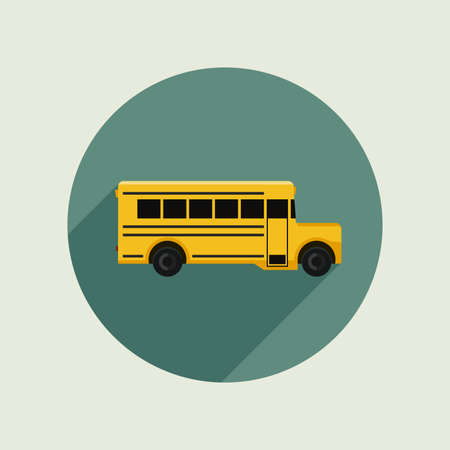car side view: School bus icon in flat style. Vector simple illustration.