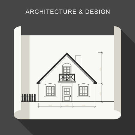 architectural drawing: Blueprint flat illustration. Architectural drawing on white roll paper.