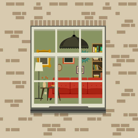 window view: Window in brick wall. View of the living room through the window. Vector flat illustration.