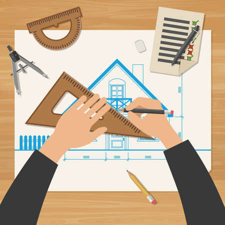 human arm: Architect at work. Simple vector illustration of blueprints with professional drawing equipment.