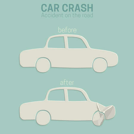 misadventure: Car crash. Cars before and after the accident.