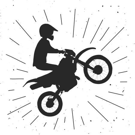 Enduro bike illustration. Motocross retro illustration.