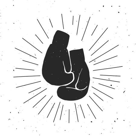 hand glove: Boxing gloves illustration. Black and white silhouette of the boxing gloves.