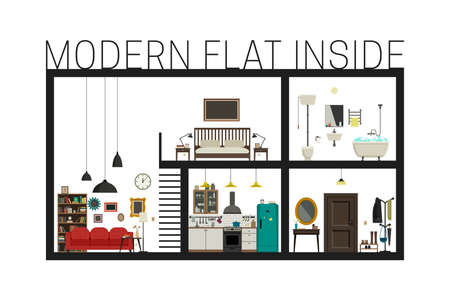 cutaway: Flat inside interior. modern flat with set of basic rooms. Modern building in cut with furniture. Illustration