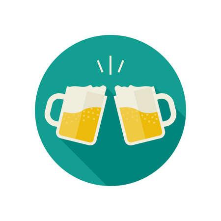bebida: Clink canecas com ícones da cerveja. Vidros com bebida alcoólica em grande estilo plana. Ilustração