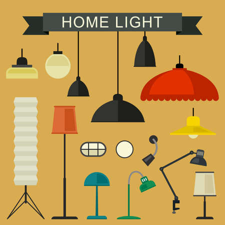 bedroom wall: Home light with lamp icons in flat style. Simple illustration.