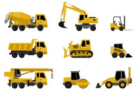 Maszyny budowlane w stylu mieszkania. Ikony maszyn budowlanych.