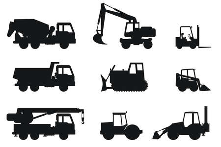 Construction machines black silhouettes. Vector icons of building machinery.