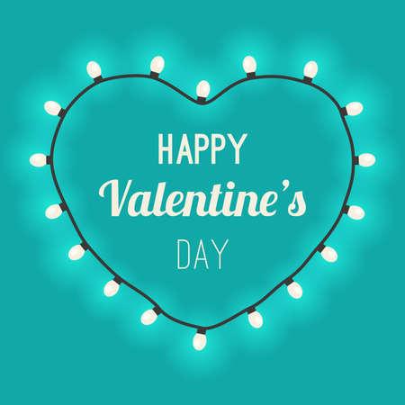 coeur lumière avec des ampoules sur fond bleu. Félicitations pour la Saint Valentin.