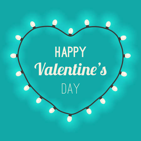 Light heart with bulbs on blue background. Congratulations on Valentine's Day.