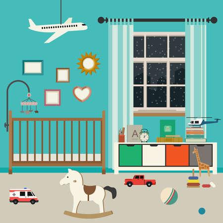 Bébé espace intérieur avec des meubles et des jouets. Vector bannière de pépinière dans un style plat. Vecteurs