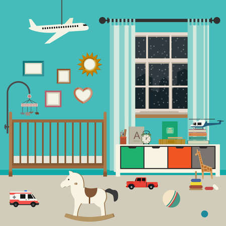 Baby room interior with furniture and toys. Vector banner of nursery in flat style. Illustration