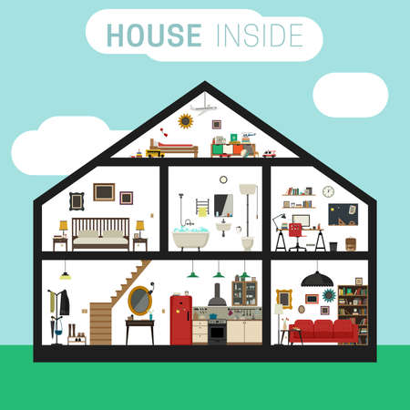 cutaway drawing: House in cut with furniture. Vector flat house with set of basic rooms.