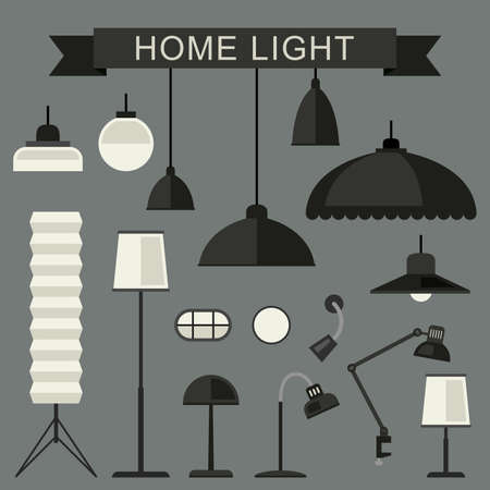 home lighting: Home lighting with lamps in flat style. Simple vector illustration.