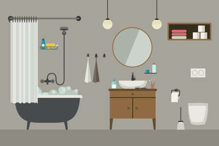 plumbing accessories: Bathroom flat illustration with furniture, toilet, sink and hygienic supplies. Vector banner of bathroom. Illustration