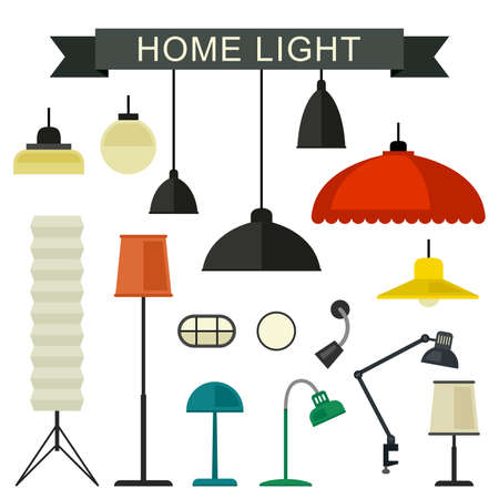 furniture design: Home light with lamps icons in flat style. Simple vector illustration.
