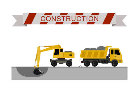 Excavator digging pit in the ground and load truck. Construction machines in flat style. Vector icons of building machinery.
