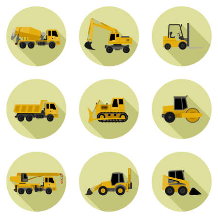 road grader: Construction machinery icons in flat style. Vector icons of building machinery.