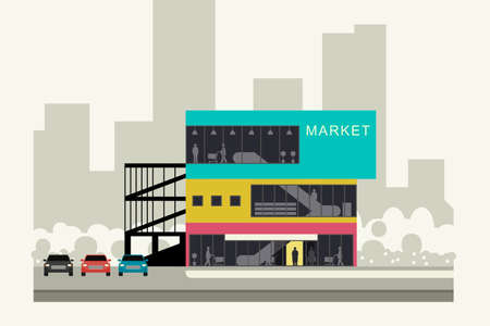 car road: Supermarket on the roadside. Store banner in flat style. Vector illustration. Illustration