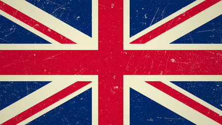britain: Great Britain flag with grunge texture.Vector British flag. Illustration