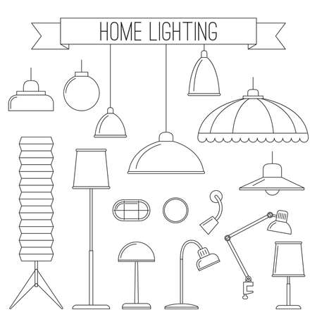 home lighting: Lamps icons set. Thin line icons of home lighting lamps.
