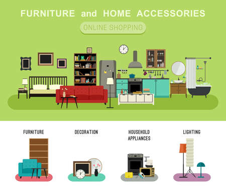 Furniture and home accessories banner with vector flat icons sofa, bookshelf, bed, bathroom, kitchen, etc. Set icons of furniture, lighting, decoration and household appliances. Ilustração