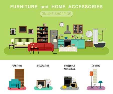 Meubles et accessoires pour la maison bannière avec icônes vectorielles plats canapé, étagère, lit, salle de bains, cuisine, etc. Set icônes de meubles, l'éclairage, la décoration et les appareils ménagers.