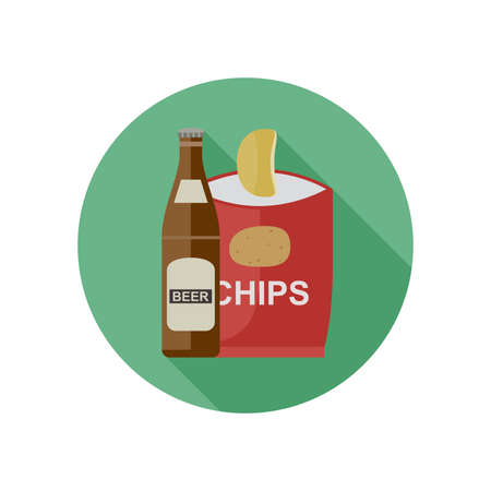 chips: Beer and chips icon in flat style. Vector illustration.