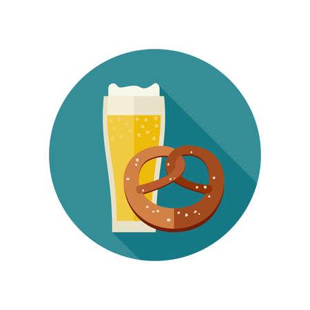 bretzel: Mug of beer and pretzel icon in flat style. Vector illustration. Illustration