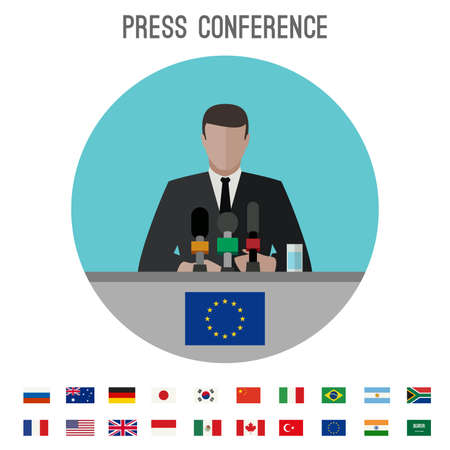 press conference: Press conference vector icon with simple flags icons of the countries in flat style.