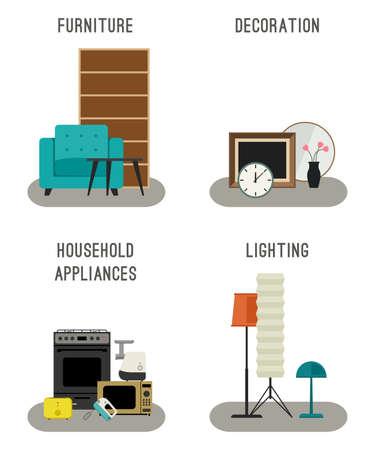 buen vivir: Fije los iconos de mobiliario, iluminación, decoración y electrodomésticos. Vectores