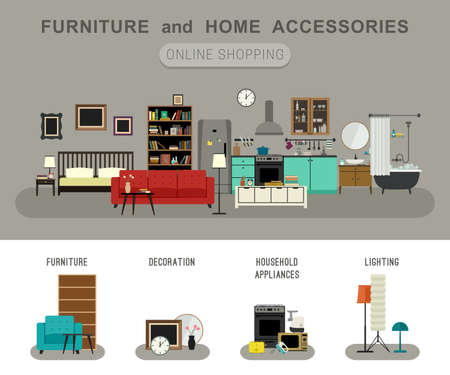 Furniture and home accessories banner with vector flat icons sofa, bookshelf, bed, bathroom, kitchen, etc. Set icons of furniture, lighting, decoration and household appliances. Illustration