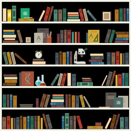 bookshelf: Bookshelf with books in flat style. Vector library banner.