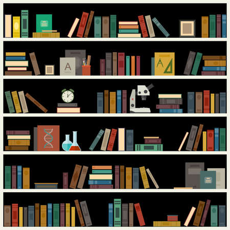 Bookshelf with books in flat style. Vector library banner.