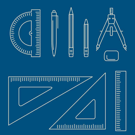 professional equipment: Vector line icons of drawing instrument. Thin drawing professional equipment. Illustration