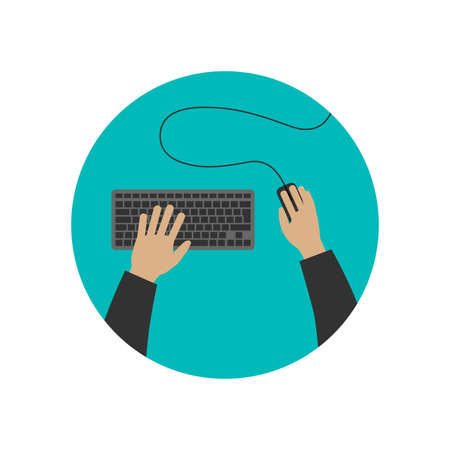 typing on computer: Hands typing on keyboard computer and mouse clicks. Vector flat illustration.