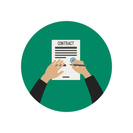 signing: Hand holding pencil and signing contract. Vector flat illustration.