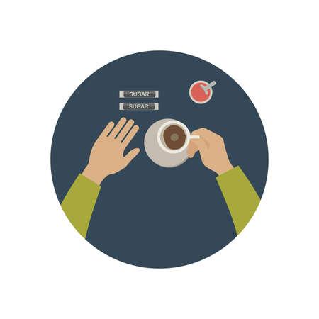short break: Hand holding cup of hot drink. Simple flat illustration of coffee break.