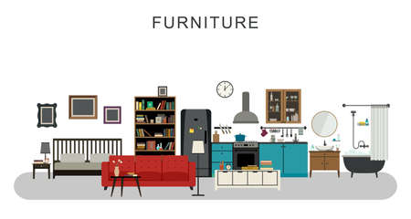 Furniture and home decoration with vector flat icons sofa, bookshelf, bed, bathroom, kitchen, etc. Illusztráció