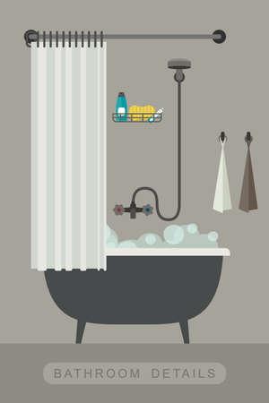 shower curtain: Bathroom equipment. Interior with bath in flat style. Vector illustration.