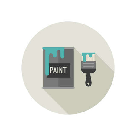 Icona piatto di pennello e secchio di vernice. Illustrazione vettoriale.