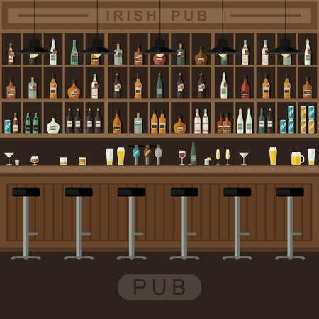 Bar Restaurace s počítadlem v plochém stylu. Vektorové nápis interiéru s barovým pultem, barové židle a police s alkoholem.